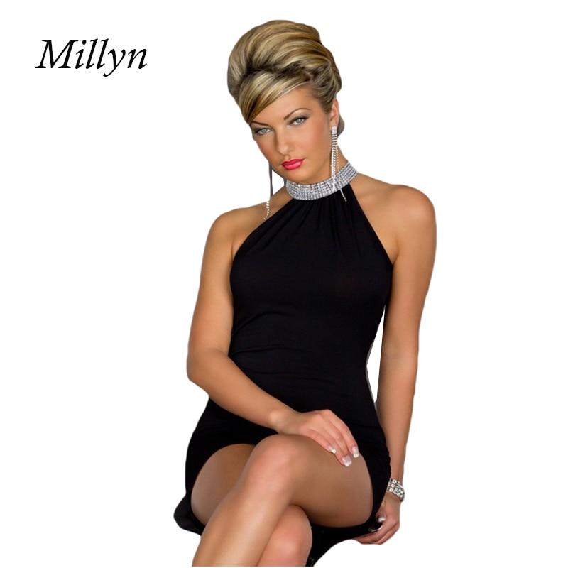 Backless spaghetti strap celebrity bandage slim dress sexy night club wear open back elastic O neck party mini dress