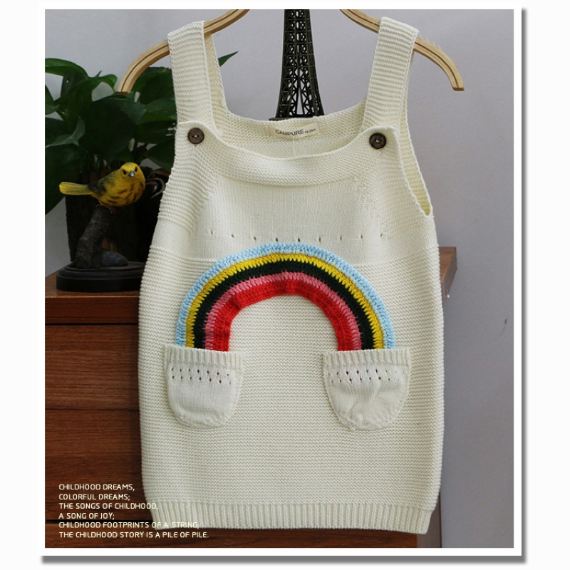 c48104336 girls cotton sweater dress spring and summer baby rainbow sleeveless ...