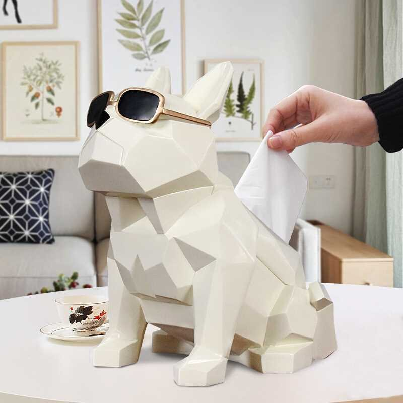 Creative Geometry Bulldog Tissue Holder Cassette Paper Holder Pumping Tray Living Room Coffee Table Decoration Dog Gift R509Creative Geometry Bulldog Tissue Holder Cassette Paper Holder Pumping Tray Living Room Coffee Table Decoration Dog Gift R509