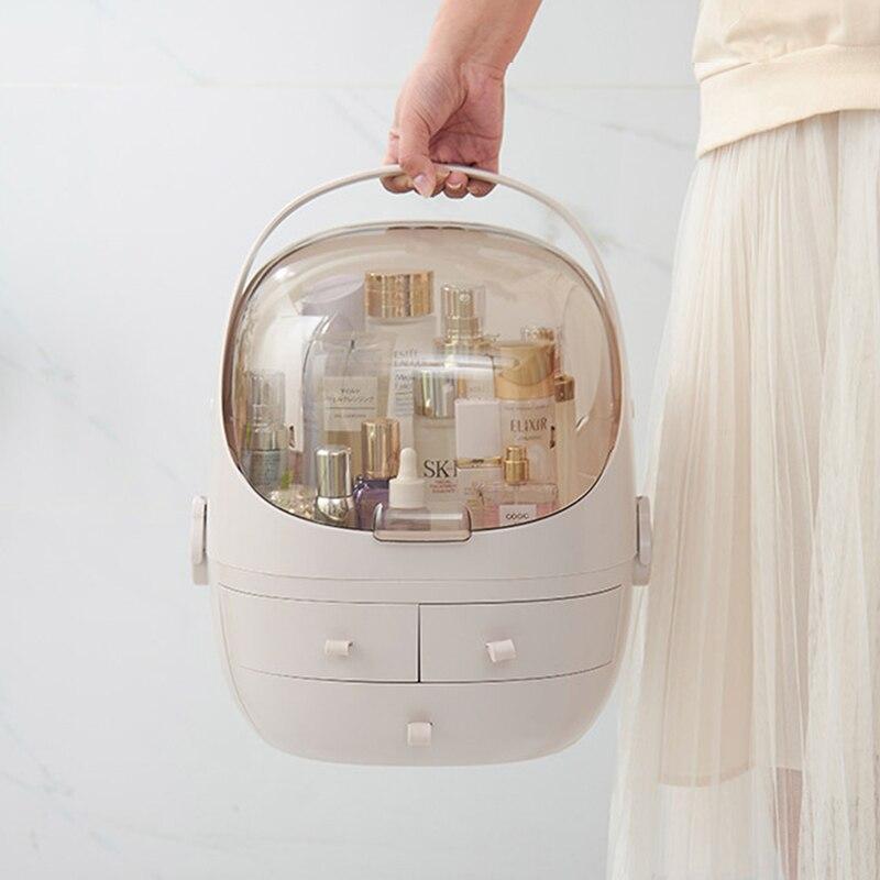 Transparent acrylique à clapet 3 tiroir coiffeuse arrondie maquillage porte-boîte de rangement pour rouge à lèvres bijoux cosmétique organisateur
