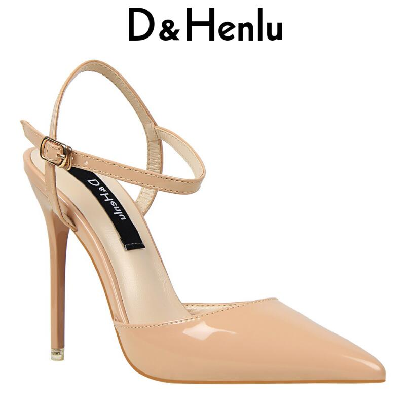 {D&Henlu} Wedding Shoes Party Shoes Women Pointed Toe Slingbacks Pumps Thin Heel Buckle Strap High Heels Pumps Sexy White Pump 2018 women high heel party pumps wedding sexy shoes lady thin heels 9 cm ankle buckle strap pointed toe rivet nightclub fashion