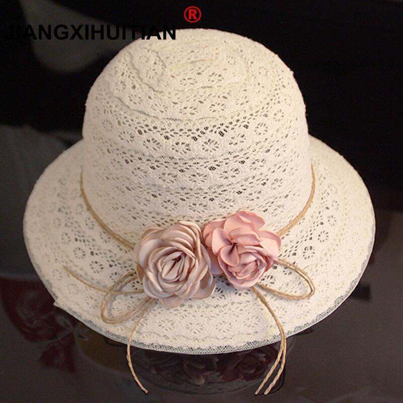 2018 New Summer Handmade Flower Strawhat Women's Garland Sunbonnet Bucket Hat Roll-up Hem Beach Cap Sun Hat For Mother And Child