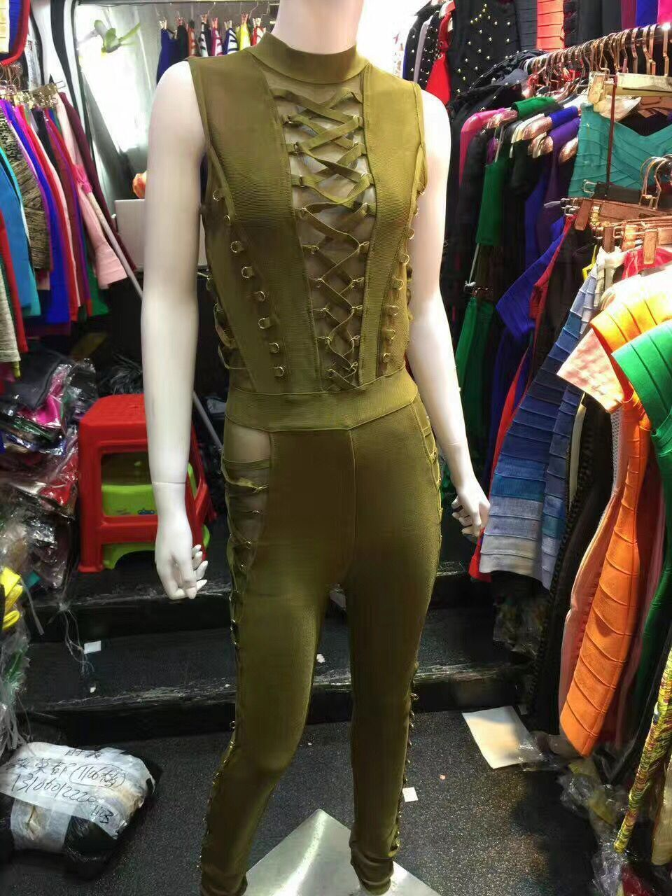 Army Green and Black Color Ladies HL Bandage Jumpsuits Sexy Laced Up Bodycon Jumpsuits High Quality