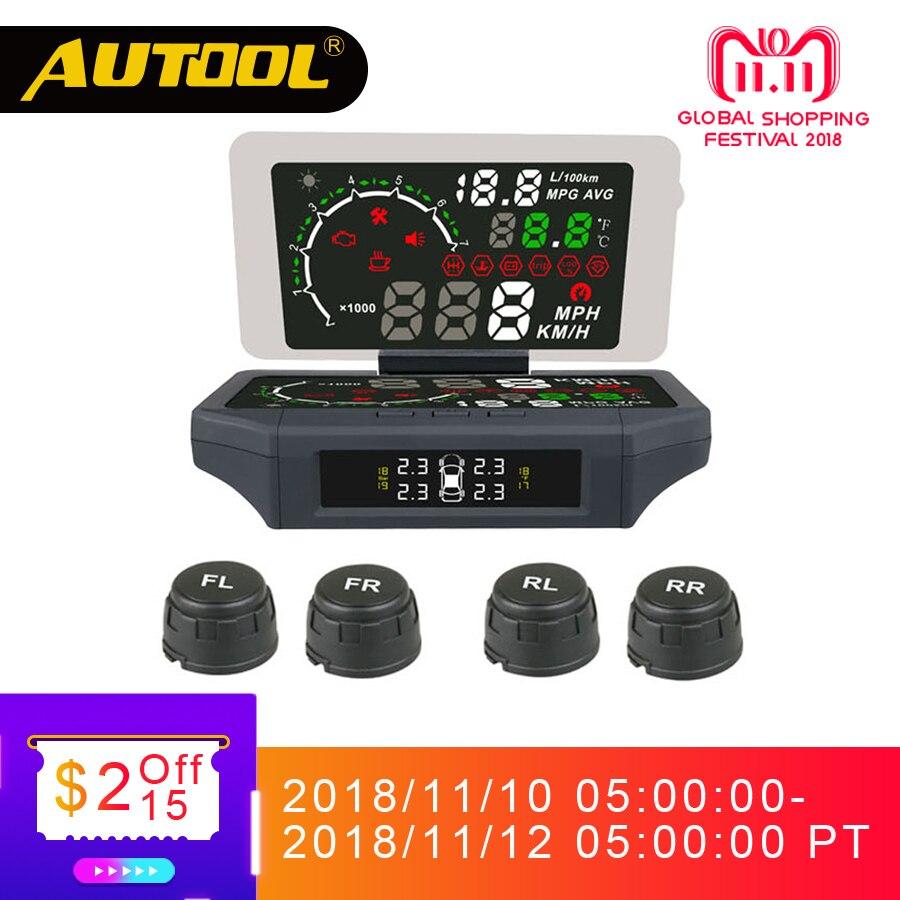 AUTOOL X360 coche TPMS HUD Head Up Display de presión de neumáticos termómetro Sensor OBD2 3IN 1 Auto II OBD 2 Monitor de diagnóstico