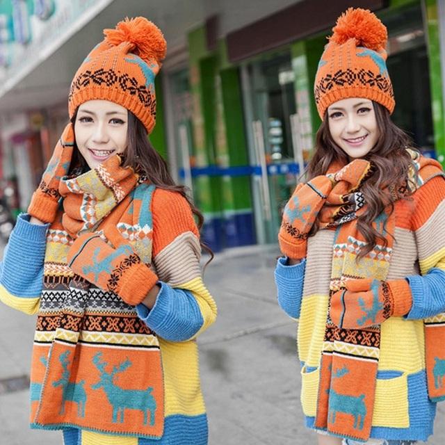 Winter Warm Hat Scarf Gloves Sets Female Warm cute deer pattern woman hat scarf set hat + scarf /set CHRISTMAS GIFT
