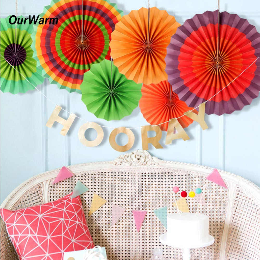 Ourwarm 6pcs Mexican Party Colorful Paper Fan Decorations Birthday Kids Decoration Event Celebration Home Wall Decor