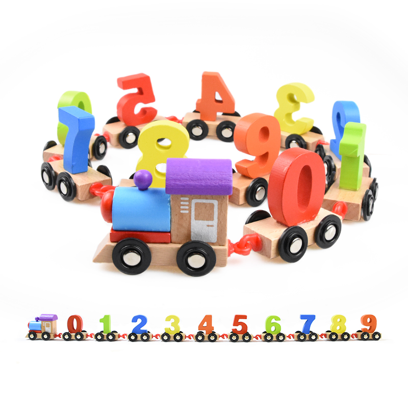 Baby Building Blocks Toys Children's Digital Wooden Train Drag Splicing Toy Car Children Early Education Toys Building Block baby wood building blocks chopping wooden block children education montessori tower set baby toys oyuncak