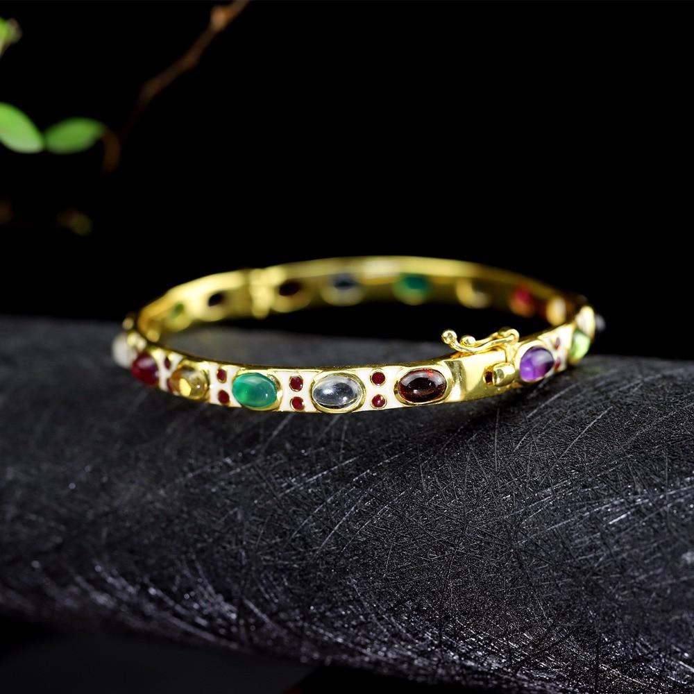 Offre spéciale Royal classique dame coloré gemme Bracelet femmes réel Bracelet S925 pur argent Bracelet classique argent beaux Bracelets