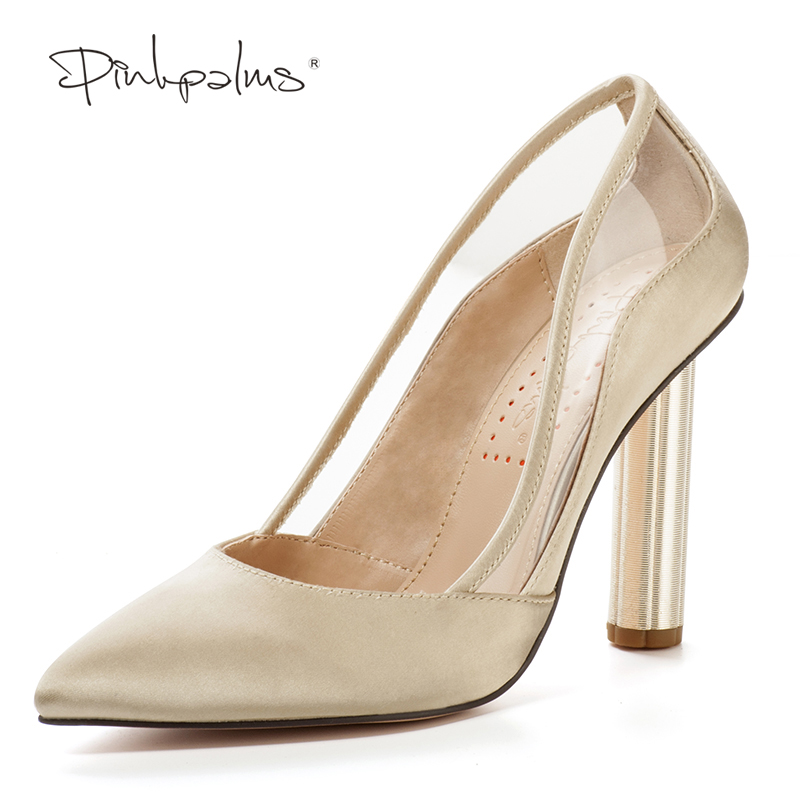 Pink Palms Women Shoes Satin and Transparent Shoes 9.5 cm High Heels Sexy Pointed Toe Slip-on Wedding Dress Shoes For Lady hot sale women pumps 2017 women shoes transparent leather high heels sexy pointed toe slip on wedding shoes dress shoes for lady