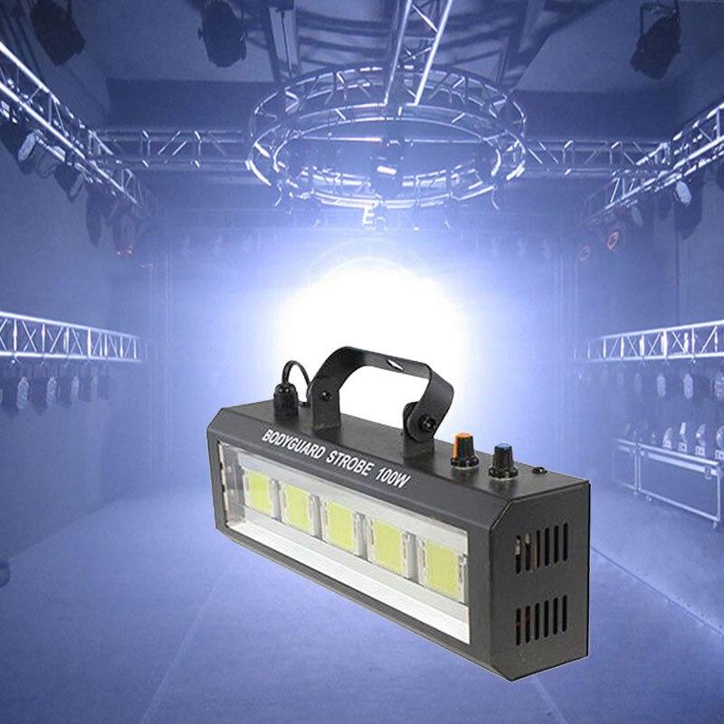 Luz estroboscópica de led 100w, velocidade ajustável, controle automático, luz branca, para festa, em casa, para música projetor do palco para mostrar