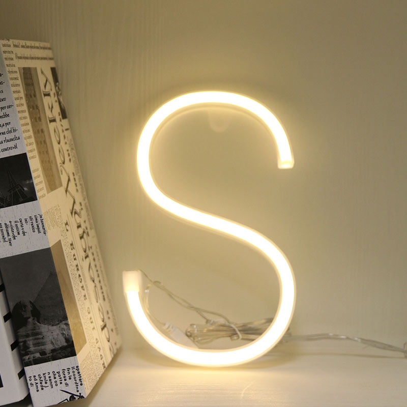 Neon Alphabet S Lamp 26 Letters  LED Night Light For Birthday Wedding Party Bedroom Wall Hanging Decor