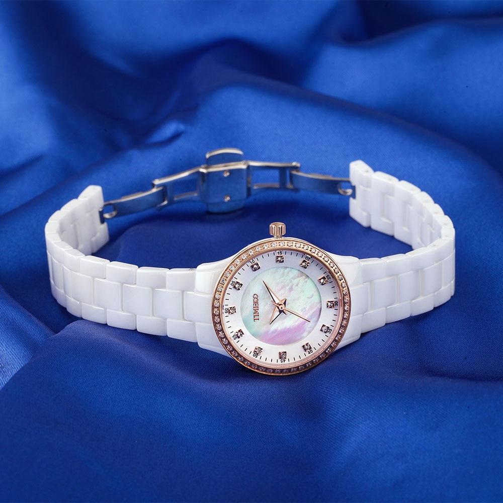 Saat100 Yeni Qadın Seramik Qol Saatları Lüks Moda ağ Yüksək - Qadın saatları - Fotoqrafiya 4