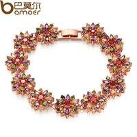 Bamoer 2014 New CZ Bracelet For Women Multi Color Prong Setting Swiss Zircon Best Gift For