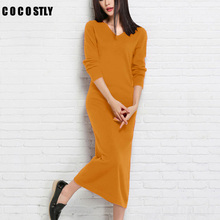 COCOSTLY Winter/autumn Women Cashmere Knitted Pullovers ladies Mid-Calf dress