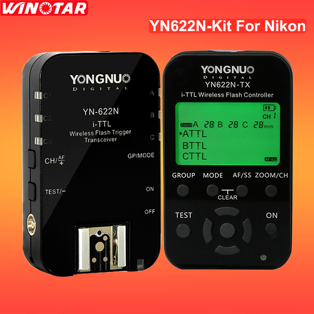 Yongnuo YN622N YN-622N 622N-TX YN622N-Kit Wireless TTL HSS Flash Trigger Set Transmitter + 2X Receivers for Nikon DSLR Camera 2pcs yongnuo yn622n ii yn622n tx i ttl wireless flash trigger transceiver for nikon camera for yongnuo yn565 yn568 yn685 flash