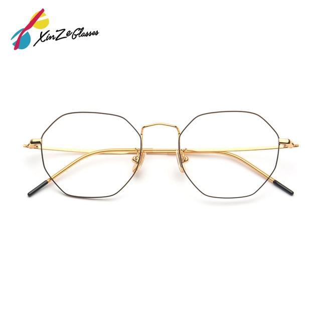 b55ad952053 Trends Women glass frame Polygon Clear Lens frames Brand Designer Men  Prescription vintage Myopic Glasses Hexagon Metal Titanium