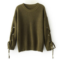 Ebizza Autumn Winter Women Knitted Sweater Vintage Long Sleeve Lace Up Casual Pullover Ladies Chic Jumper