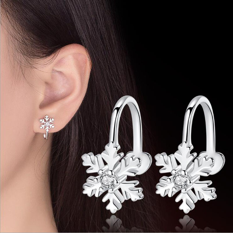 Onevan New Fashion 925 Silver Earring Non Pierced Shiny Cz Snowflake No Hole Ear Clip Earrings For Women Christmas Jewelry Gifts To Ensure Smooth Transmission Earrings Jewelry & Accessories