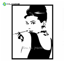 Classic Audrey Hepburn Wall Stickers Nordic Style Murals Black Fake Frame Wall  Decal Living Room Bedroom Part 75