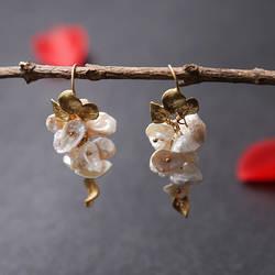 Amxiu ручной работы природные формы серьги жемчуг для Для женщин позолоченный мотаться падение серьги Мода Цветочные украшения уши