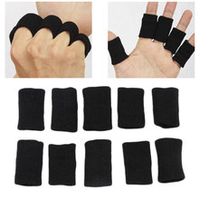 Durable 10Pcs Black Finger Protector Sleeve Support Basketball Sports Breathable Aid Arthritis Band Wraps Finger Sleeves(China)