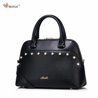 New NUCELLE Brand Design Fashion Pearls Beads PU Leather Women Lady Handbag Shoulder Crossbody Shell Bag