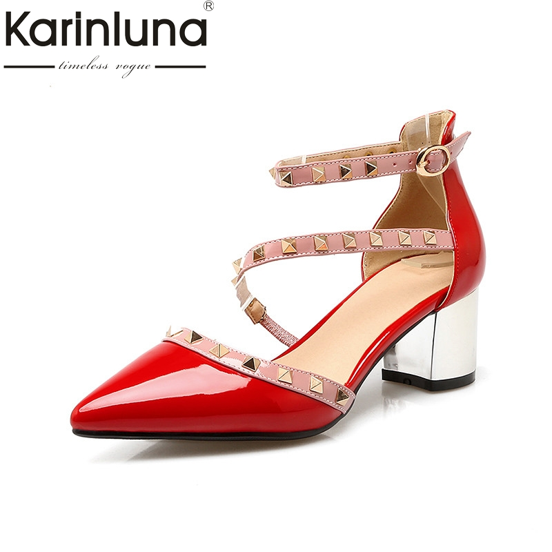 KarinLuna 2018 Summer Brand Rivet Ankle Strap Pumps Sexy Pointed Toe Med Heels Fashion Shoes Woman Plus Size 32-48 pu pointed toe flats with eyelet strap