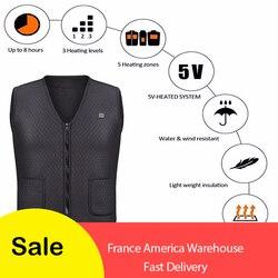 Men Women Outdoor USB Infrared Heating Vest Jacket Winter Flexible Electric Thermal Clothing Waistcoat Fishing Hiking Dropship