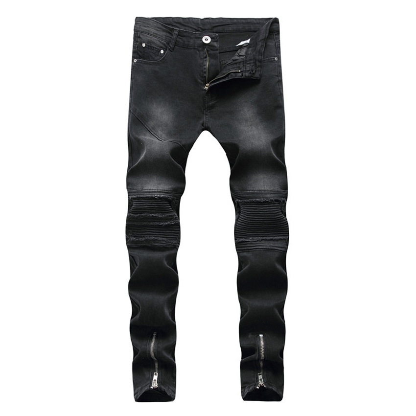 High Quality Black 2018 Men Biker Jeans Punk Hiphop Street Design Rock Star Destroyed  Skinny