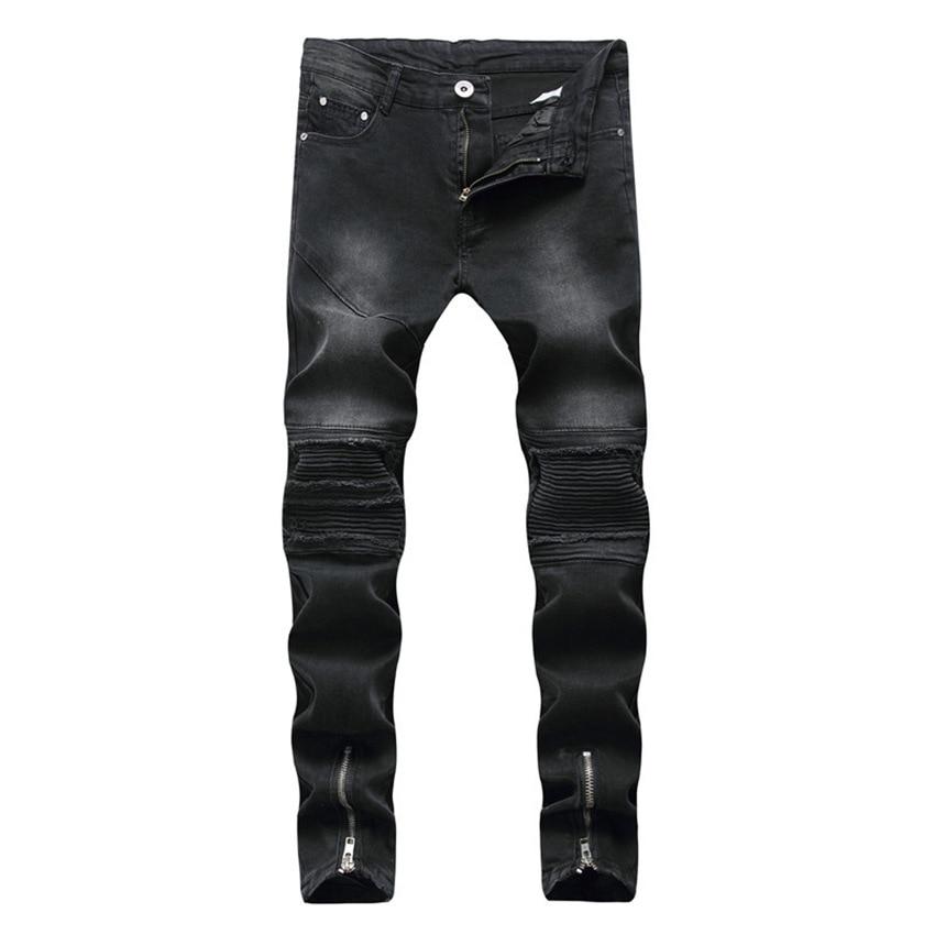 High Quality Black 2018 Men Biker Jeans Punk Hiphop street design Rock Star Destroyed  Skinny