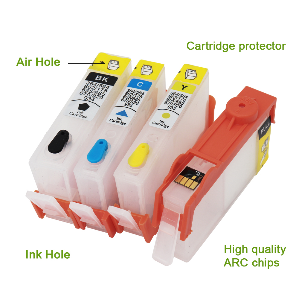 4 Color For HP 655 Refillable Ink Cartridge Cartridge For HP 655 With ARC Chip For HP 5525 6525 3525 4615 Inkjet Printer image