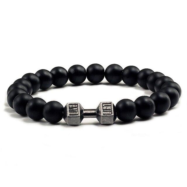 21cbec316a62 Nueva Pesas pulseras moda natural fit Life negro piedra pulsera de cuentas  para hombres de energía