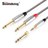 Soundking Aux kablo 3.5/6.35mm jack 2*6.35 jack ses kablosu male için 3.5 adaptör fiş Amplifikatör Karıştırma konsolu B23