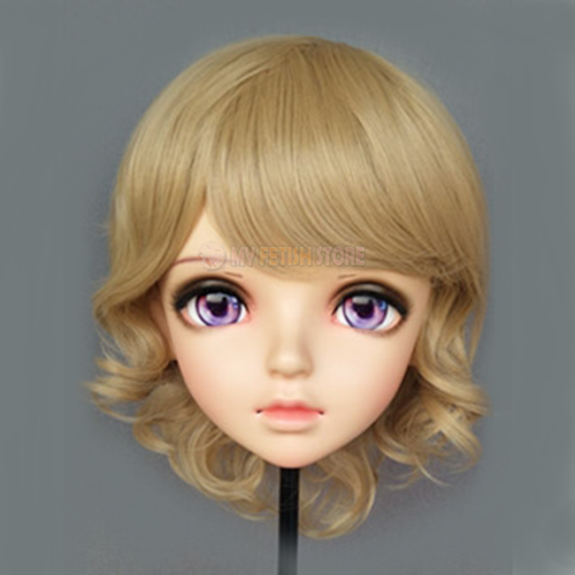 (miao-6)female Sweet Girl Resin Half Head Kigurumi Bjd Eyes Crossdress Cosplay Japanese Anime Role Lolita Mask With Eyes And Wig Always Buy Good