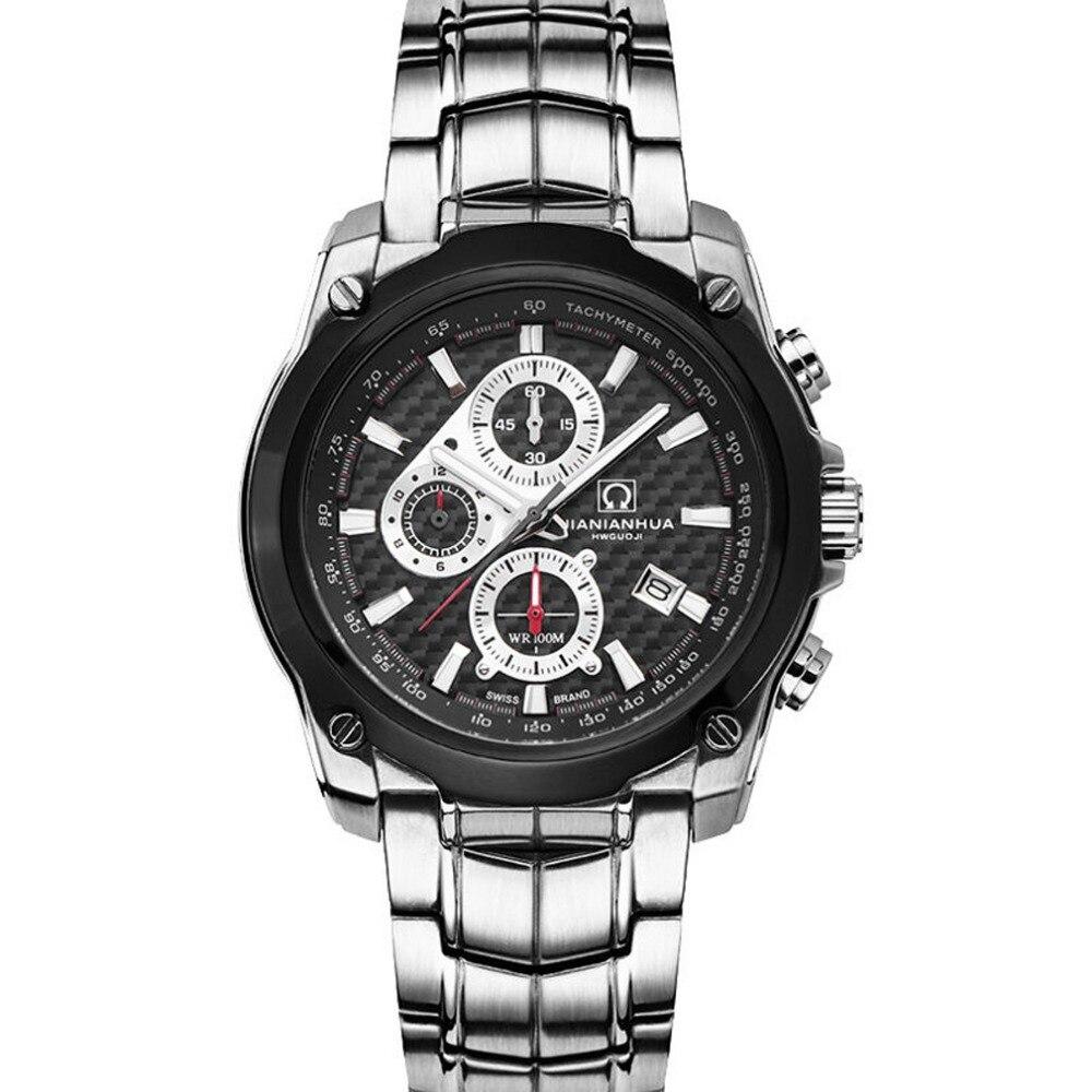 Carnival Mens Sports Waterproof Steel Watchband Triples Windows Quartz Watch Wristwatch - silver case black dial