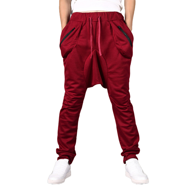 Brand New Fashion Sweatpants Trousers Men Harem Pants  Low Crotch Joggers Men's Big Pocket Design Man Cargo Joggers harajuku