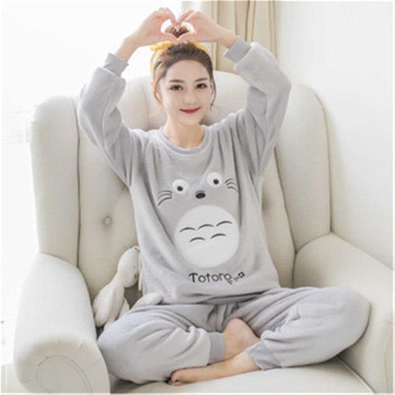 JULY'S SONG Women Pajama Sets 2019 Autumn Winter Pajamas Flannel Cartoon Thick Warm Women Sleepwear Cute Animal Female Homewear 42