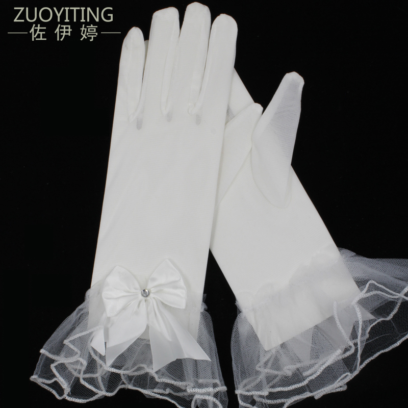 ZUOYITING 2017 Nye Hot Short White Bridal Gloves med Bow Detaljer Billige Wedding Gloves Complete Fingers i Salg Bryllup Varer