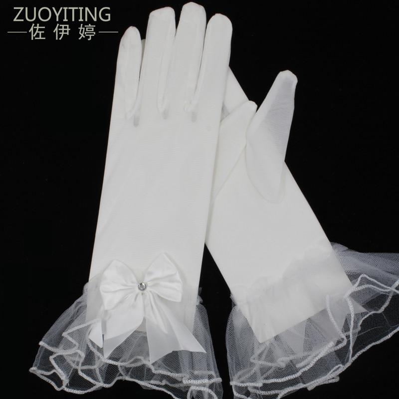 ZUOYITING 2017 Novi vruće kratke bijele svadbene rukavice s lukom Detalji Jeftini Vjenčanje Rukavice Kompletni prsti u prodaji Vjenčanje robe