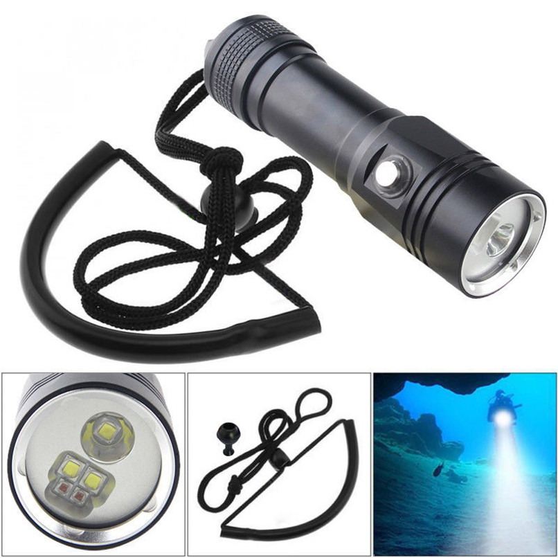 Diving Flashlight Lanterna White Red LED 18650 Flashlight Torch Photography Video Light Torch Underwater Lamp #4l05