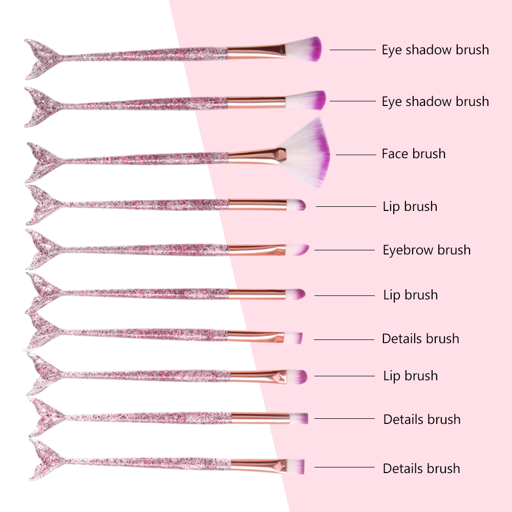 Dighealth 10pcs Mermaid Brush Foundation Powder Eye shadow Eyeliner Makeup Brushes Eyebrow Blush Lip Make Up Brush Mermaid Set 5