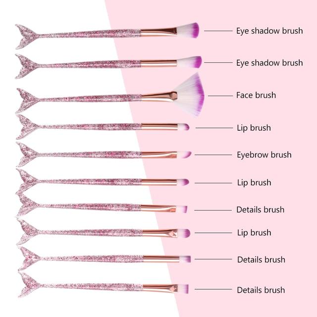 Dighealth Makeup Brushes Mermaid Brush Foundation Powder Eye Shadow Eyeliner Eyebrow Blush Lip Make Up Brush Face Cosmetic Tool 6