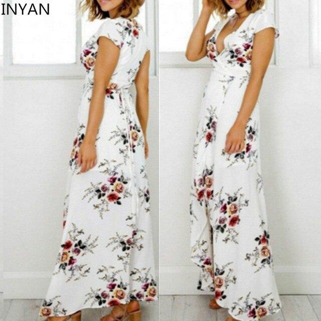 INYAN Women Elegant Split White Floral Beach Long Boho Dress Sexy ...