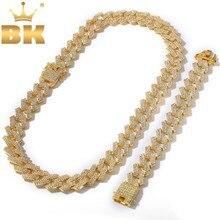 BLING KING 20mm Miami Prong kubański łańcuch NE + BA 3 wiersz pełna Iced Out naszyjnik ze strasu i bransoletka mężczyzna Hiphop biżuteria
