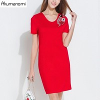 اللباس ش طوق القطن الماس قصيرة الأكمام bodycon موجز الأزياء الحمراء الصيف اللباس زائد الحجم 5xl 4xl xxxl xxl xl l m