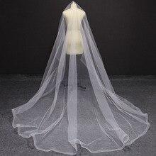 حافة الشعر الطويل 3 متر طرحة زفاف بدون مشط طبقة واحدة غطاء الوجه الزفاف الحجاب فيلو دي نوفيا