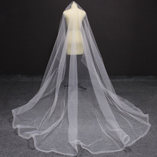 Long Horsehair Edge 3 Meters Wedding Veil WITHOUT Comb One Layer Cover Face Bridal Veil Velo de Novia