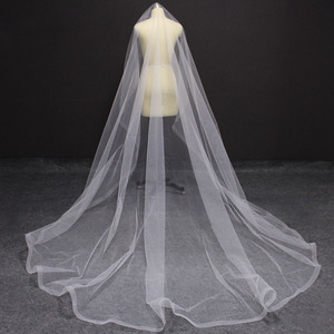 Image 1 - Long Horsehair Edge 3 Meters Wedding Veil WITHOUT Comb One Layer Cover Face Bridal Veil Velo de Novia