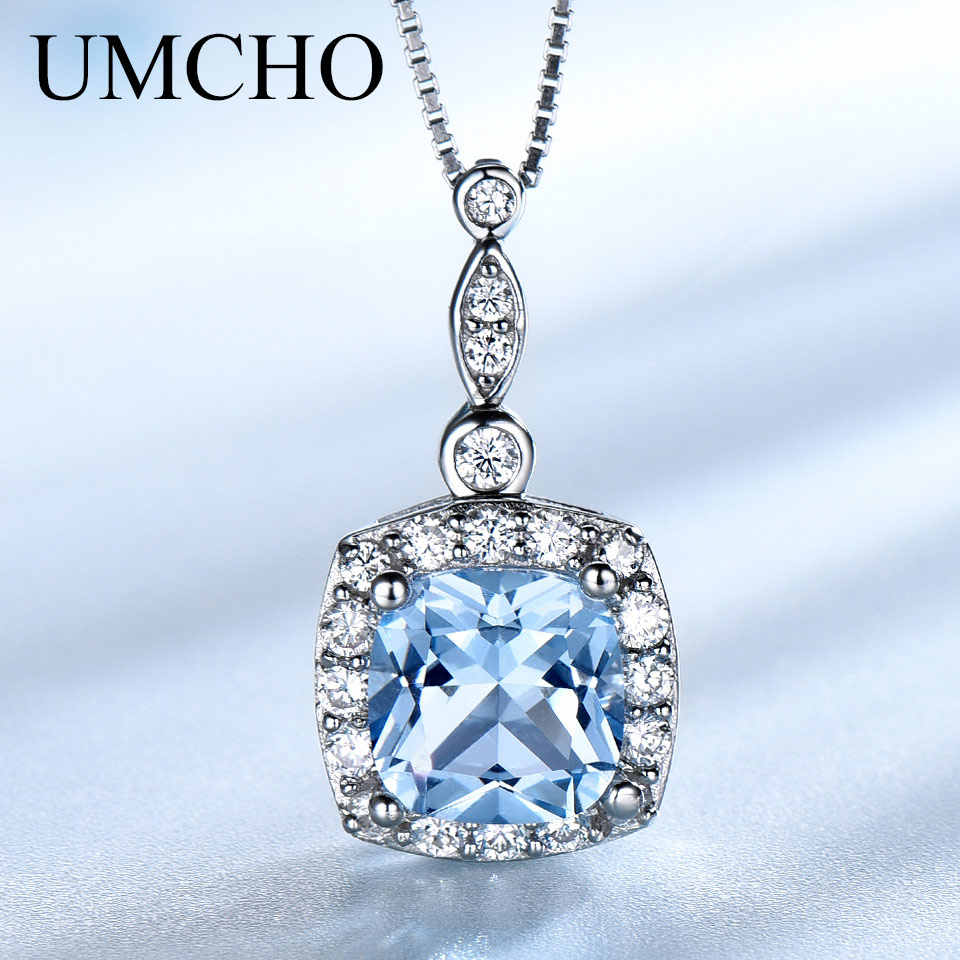 UMCHO Solid 925 Sterling Silver Necklaces Pendants for Women Gemstone Sky Blue Topaz Engagement Wedding mothers' Day Jewelry New
