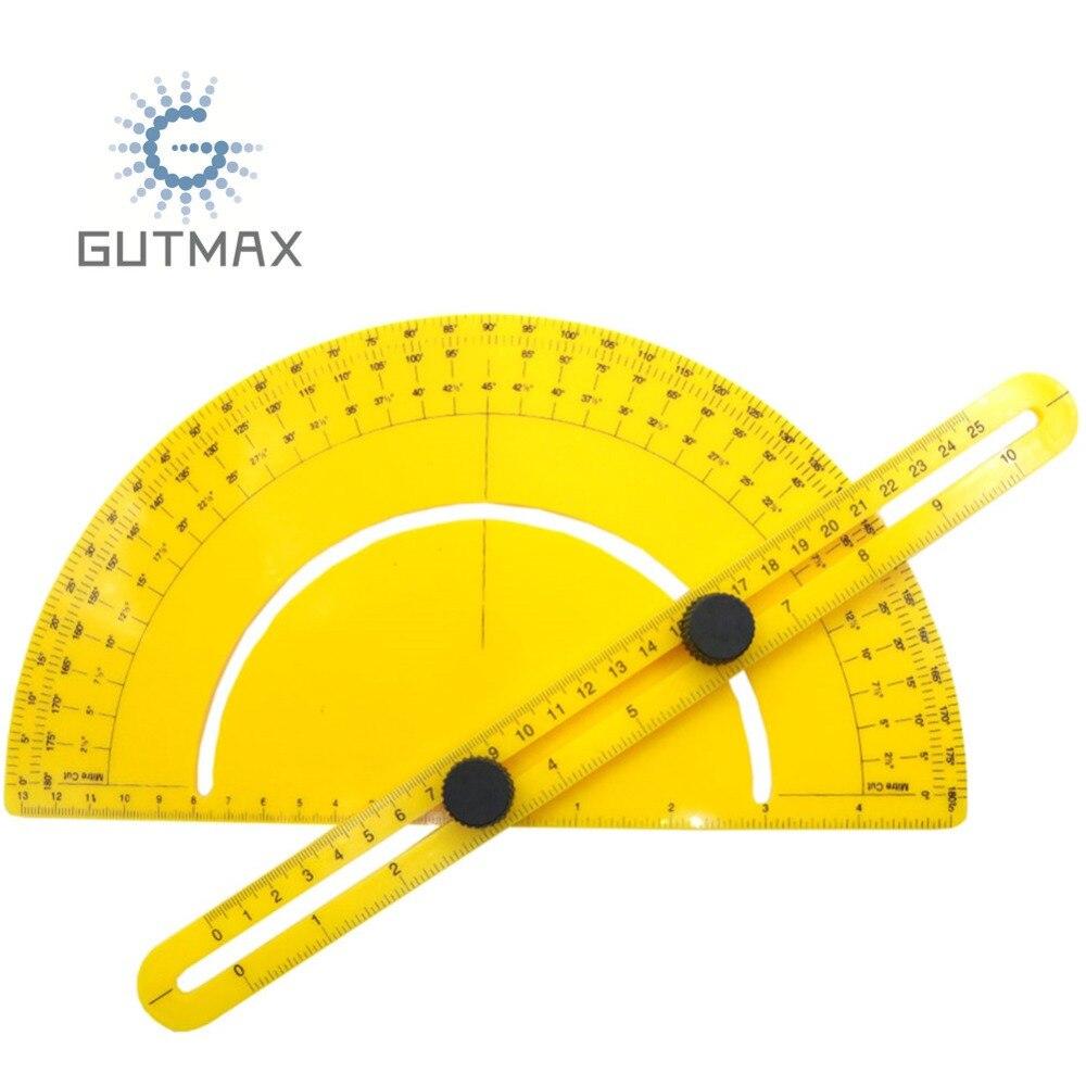 Transportador de plástico 180 grados brazo oscilante Multi ángulo buscador medida gobernante goniómetro herramienta plantilla HY111